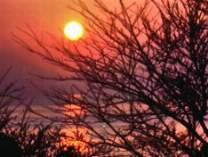 窓辺よりの秋の夕日:美しい!
