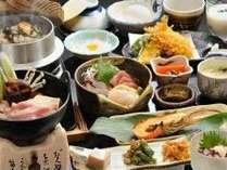【夕食例】旨味がしっかりとお米に染み込んだ炊きたての「釜飯」や季節の味覚をシンプルに