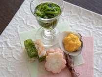 春料理:【前菜】玉菜寄 蛤黄金焼き 桜花長芋