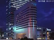 大宮駅西口、そごう大宮側から望む、夜のホテル外観 ※イメージ