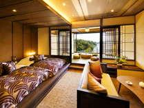 □Jr.スイート-蓬莱 □上質な空間と九十九湾を一望できる趣きの異なる3つのお部屋