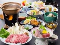 【3つの味覚を愉しむ】あわびバター焼き・高森牛しゃぶしゃぶ・かに具足煮会席プラン☆