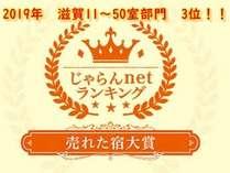 じゃらんnet ランキング2019 【売れた宿大賞】滋賀11~50室部門 3位!!!