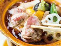 【30周年会席】冬の一例。鴨の治部煮は金沢の郷土料理です。