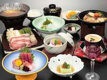 2014年4月~9月 料理一例 群馬豚沢煮・かれい陶板焼き・下仁田蒟蒻など