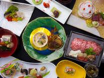 【四季彩和膳:一例】風味豊かな上州牛をメインとした当館一番人気の和膳。写真はイメージです。