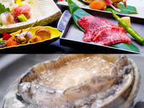 人気グルメ「上州牛」と「あわび」がついた和食膳。写真はイメージです。
