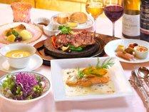 上州グルメコースは群馬県産最高級ニジマス「ギンヒカリ」と上州牛の石焼ステーキがメイン