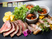 【9/3~11/7限定メニュー】ローストビーフ・信州ポークステーキ・鶏肉カチャトーラの肉3種盛り