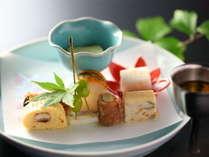 ≪前菜≫松本特産の一本葱の豚巻きなど。秋の一例。