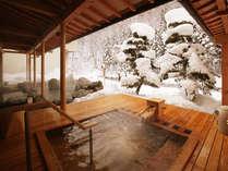 青森ひばの露天風呂。雪見風呂は12月下旬頃~3月上旬(冬季は源泉100%掛け流し)