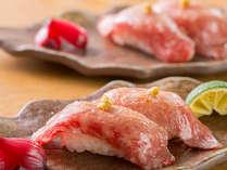 人気の牛炙り寿司。全国ランキング入りの能登牛をお楽しみください。