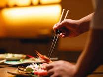 一皿一皿に真心を込めて。「料理の四季亭」ならではの盛付もお楽しみください。