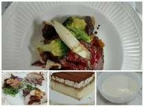 夕食は牛肉料理をメインに、季節の地物を味わう盛り合わせや手作りデザート等。