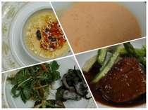 夕食は地物食材を使った盛り合わせや手作りデザート等をメインの牛肉料理と共にお楽しみ下さい。