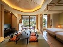 Japaneseスイート『桐』和洋室(58.9平米)定員4名様のお部屋です。