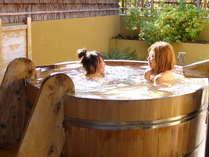 ゆったり楽しい「酒樽の湯」洗面台&洗い場も完備※11種類の貸切露天風呂一例