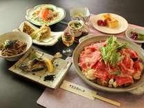 旬の具財たっぷり!ごま風味の蒸し陶板鍋です!こちらは冬のグレードアッププランの夕食例となります♪