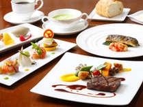【欧風レストラン「バーデンバーデン」】飛騨牛のグリルや旬の食材を取り入れた彩り豊かなフレンチコース