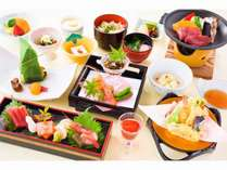 松代荘の基本会席「扇コース」。地産地消にこだわった長野の食材を目にも美しい会席料理で。