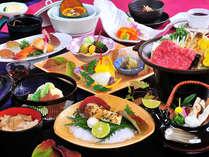 通常よりも品数も増えるグレードアップ会席。季節の食材を使った和会席料理です。