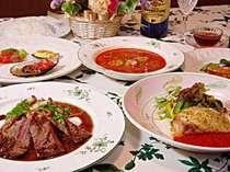 夕食はオシャレで気取らないフレンチイタリアンのコースメニュー