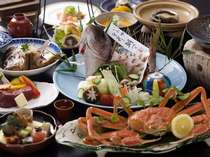 【豪華食材:鯛・蟹・鮑・牛会席】人気の「鯛づくし」にメイン食材が3種プラス!