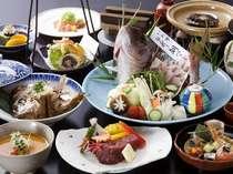 【鯛づくし・牛・鮑会席】鯛を料理にまるごと1匹使用。