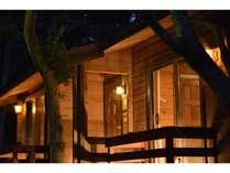 カナダ産ログハウス(夜の外観)/室内は全室バス、トイレ、冷蔵庫を完備