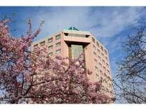 ホテルトリニティ書斎(春の外観)/季節のお花が咲き乱れます