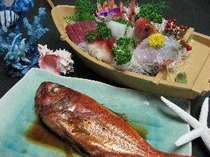 マリンビュー冬季以外のスタンダードメニュー☆舟盛り&大きな金目鯛の姿煮!