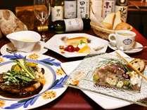 【ご夕食一例】旬の素材を使用!シェフ自慢のフレンチコースをごゆっくりお楽しみくださいませ。