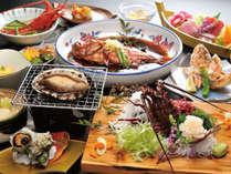 『5大味覚会席』一例:アワビ・金目鯛・伊勢海老・サザエ・カサゴ