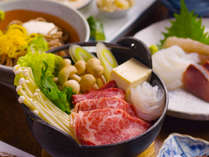 地産地消の『すき焼き膳』自家農園で収穫した新鮮な野菜、お肉は鳥取和牛を使用。
