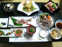 *【夕食一例】山女・イワナの塩焼きなどの安倍川の幸や、春~夏は山菜料理をご賞味あれ!