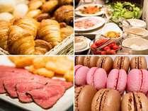 朝食ビュッフェには焼きたてパンにフレッシュなサラダ、1番人気のローストビーフにマカロンもあります♪