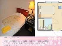 シングルルームの間取りです。広さは10平米です。