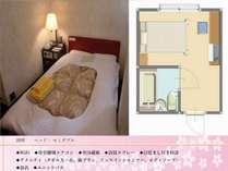 セミダブルルームです。広さは10平米です。