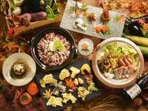 【夕食バイキング/秋の献立】当館オリジナルの鍋比べや、実演天ぷらなど味わい深い和食料理
