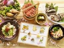【夕食バイキング/春の献立】山菜や春野菜の実演天ぷら、旬の刺身など、北海道の春を楽しめる