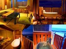 ベランダに面した露天風呂から幻想的な雰囲気の海を眺める客室(一例)