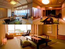 マッサージチェア付客室。海を眺めながらマッサージチェア付でリラックス♪10帖が基本。(一例)