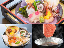 春のスタンダード会席一例:造り、前菜、鳥取県産黒毛和牛チョイスrすき焼き