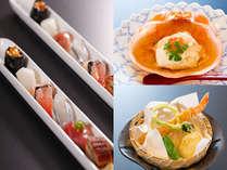 春のスタンダード会席一例:旬鮮一口姫寿司、紅カニ酢ゼリー掛け、揚物エビ玄米揚