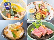 春のスタンダード会席一例:鳥取県産黒毛和牛、揚物エビ玄米揚、お造り、前菜