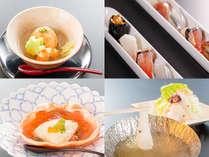春のスタンダード会席一例:蒸物島田筍万頭、一口姫寿司、酢物紅カニ酢ゼリー掛け、温物タコしゃぶしゃぶ