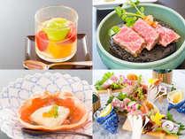 春の控え目会席一例:御造りかきつばた八橋盛、強肴鳥取牛ロース、酢物紅カニ酢ゼリー掛け、水菓子