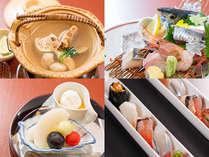 秋のスタンダード会席一例:一口姫寿司、水菓子、造り、松茸土瓶蒸し