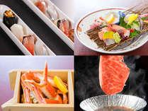 秋から冬のスタンダード会席一例:本ずわい蟹、黒毛和牛すき焼き、旬鮮一口姫寿司、お造り