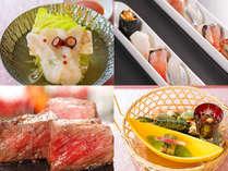 スタンダード会席一例:前菜、牛石焼、旬鮮一口姫寿司、温物【昆布茶仕立て】地物水タコしゃぶしゃぶ